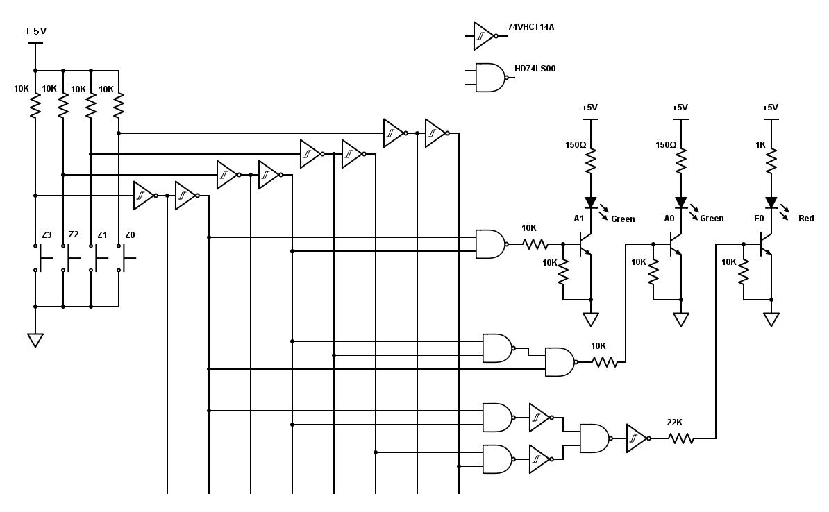 4to2プライオリティエンコーダ回路図